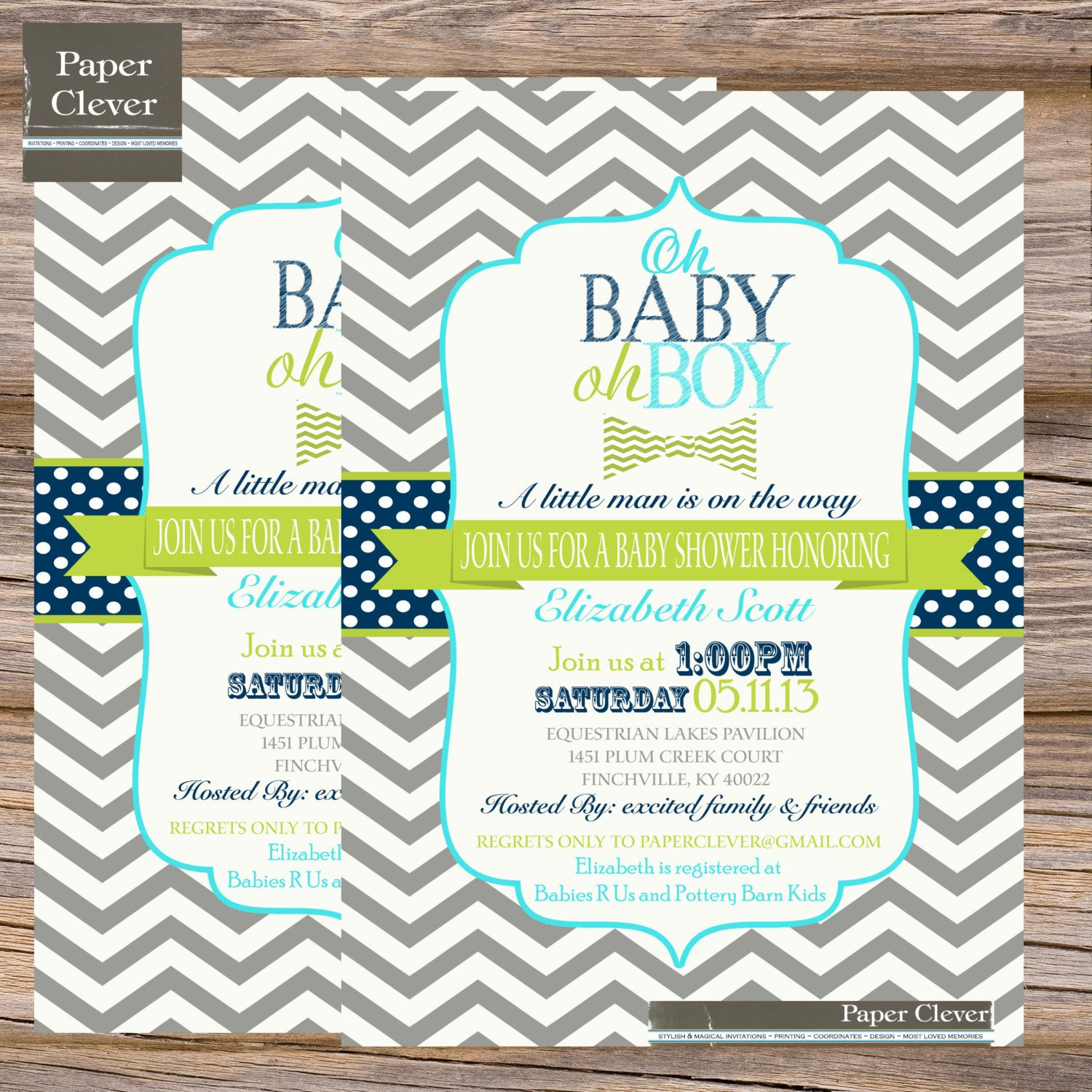 Boys baby shower invitation chevron oh boy bowtie by paperclever ...