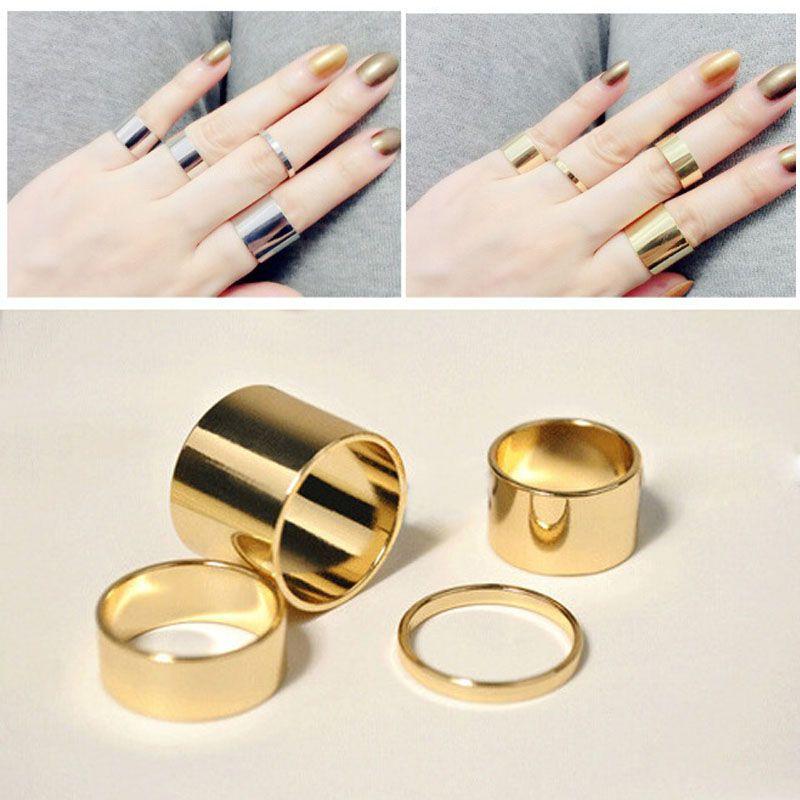 AIWGX 4 Pics/세트 골드/실버 간단한 디자인 얇은 미디 중간 손가락 너클 링 세트 여성