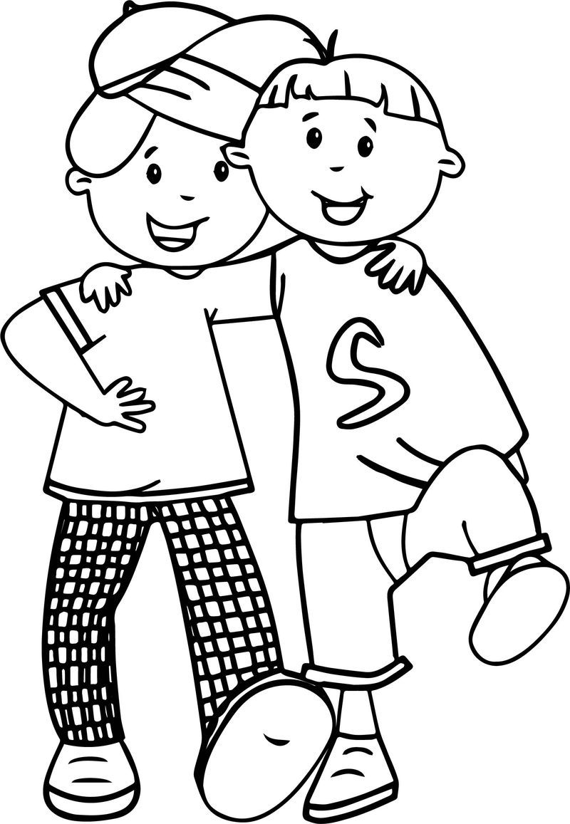 Cartoon Best Friends Walking Coloring Page. Also see the