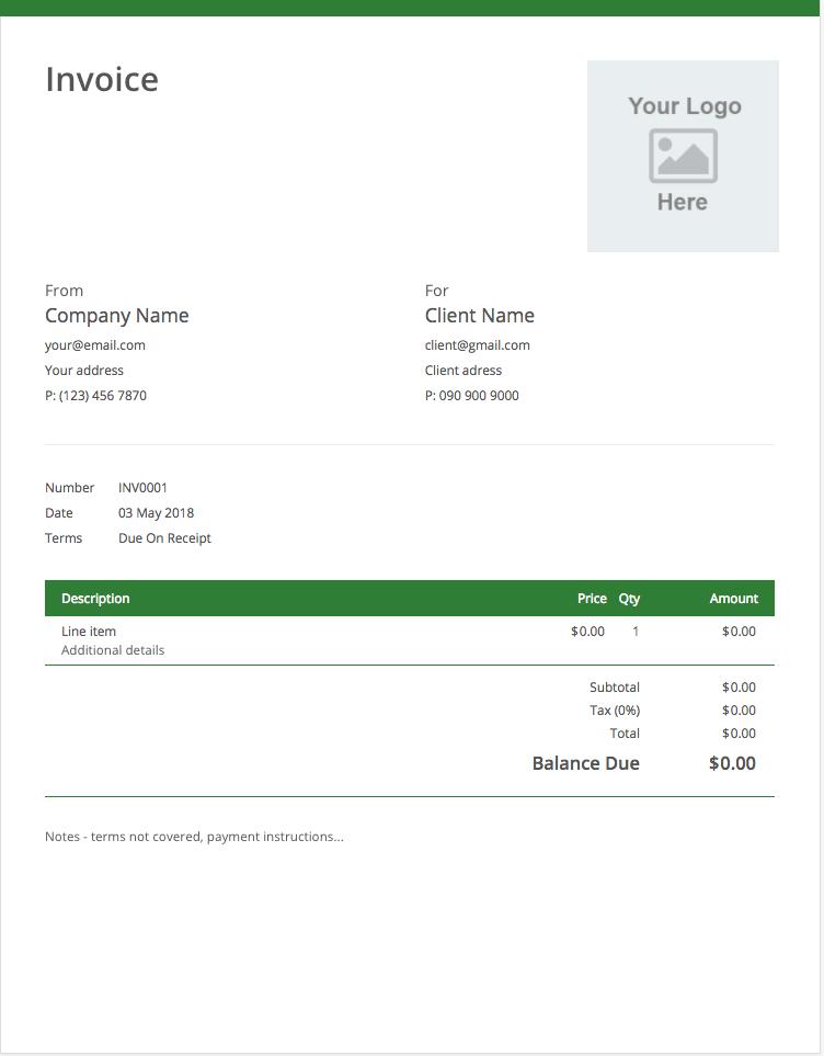 Invoice Template Screenshot Invoice Template Templates Invoicing