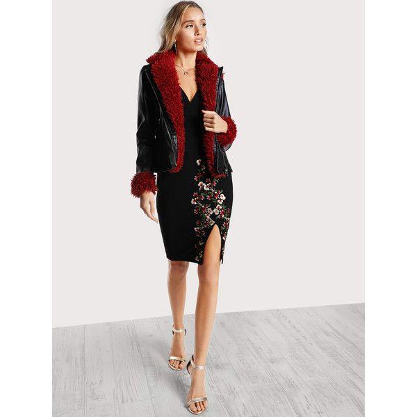c247f67d34 SheIn(sheinside) Contrast Faux Fur Trim Moto Jacket ($37) ❤ liked ...
