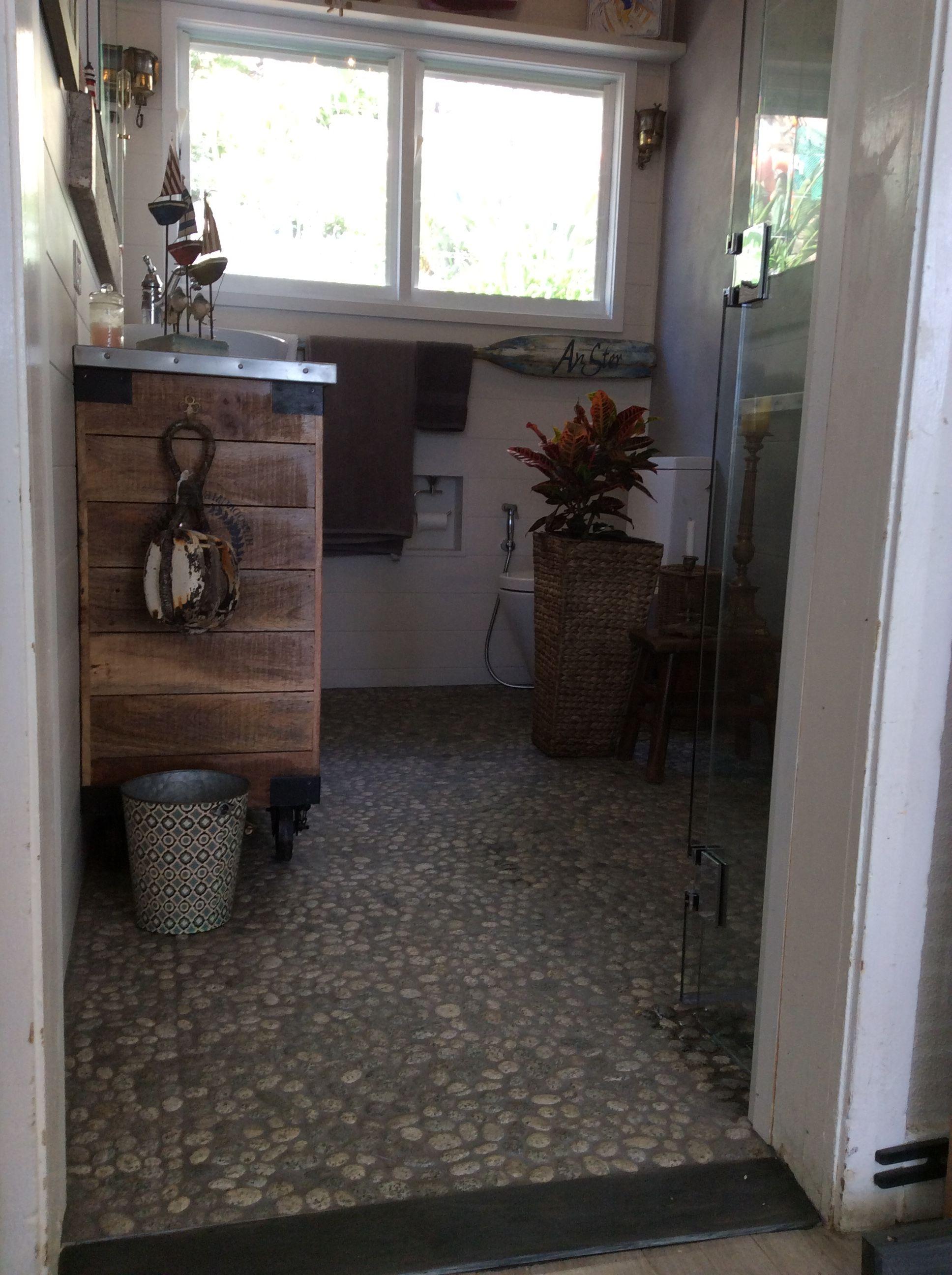 Pebbles flooring in my bathroom | Pebble floor, Entryway ...