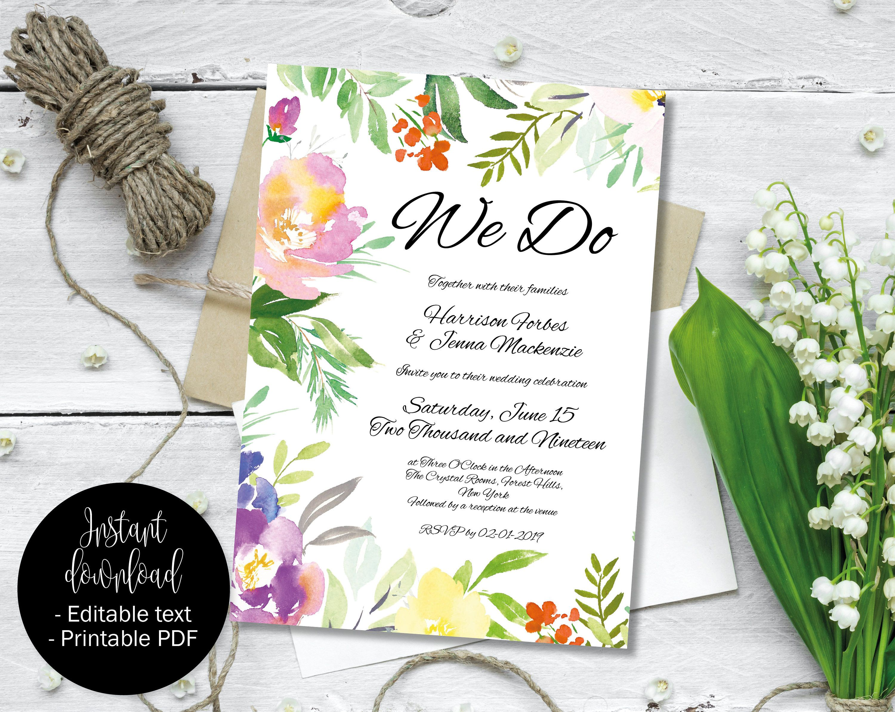 Invitation Wedding Template Printable Editable DIY PDF Invite Day Evening