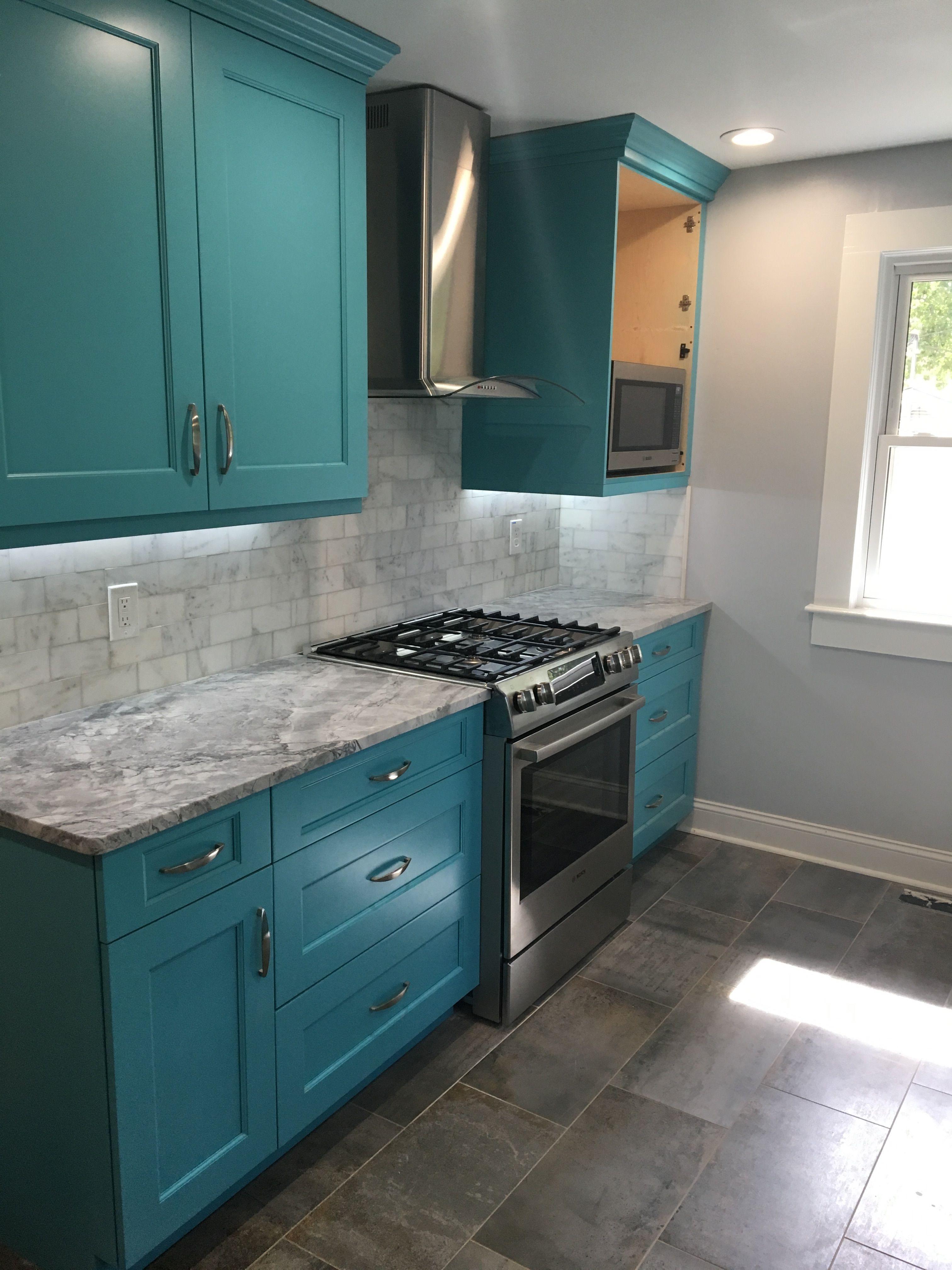 My Kitchen In The Making~ #kitchenremodel #turquoisecabinets #westasheville  #ncremodel #after #almost #granitecounters #Brandnewkitchen #AshevilleNC ...