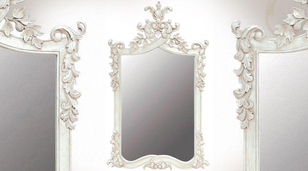 Grand miroir baroque blanc en acajou sculpté Miroir mural 100