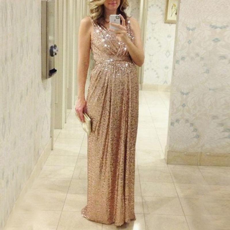 Maternity Sequin Condole Belt V Neck Maxi Dress Dresses Maternity Bridesmaid Dresses Champagne Bridesmaid Dresses
