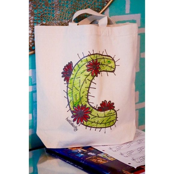 "hellobecky initial ""C"" tote! Hooray! My hellobecky ""C"" initial tote! Be one of the first to own! Specifications are: 13.5 x 14 x 3.25, canvas tote natural color, print only on one side, designs are hand drawn by me! Great as a weekend bag! (washing instructions: hand wash in cold water & hang dry) Each one is unique! Yay! Bags Totes"