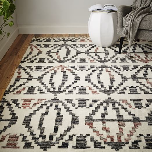 Unexpected Pops Of Red Give The Traditional Pattern Our Reversible Geometric Steps Rug A Modern Twist Graphic Design Recalls Mid Century Kilims From