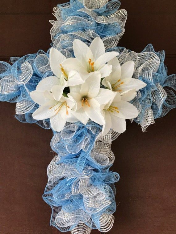 Photo of Easter wreath/Easter cross wreath/Easter Lilies/Blue and Silver mesh wreath/Easter floral wreath, Front door decor. Free shipping