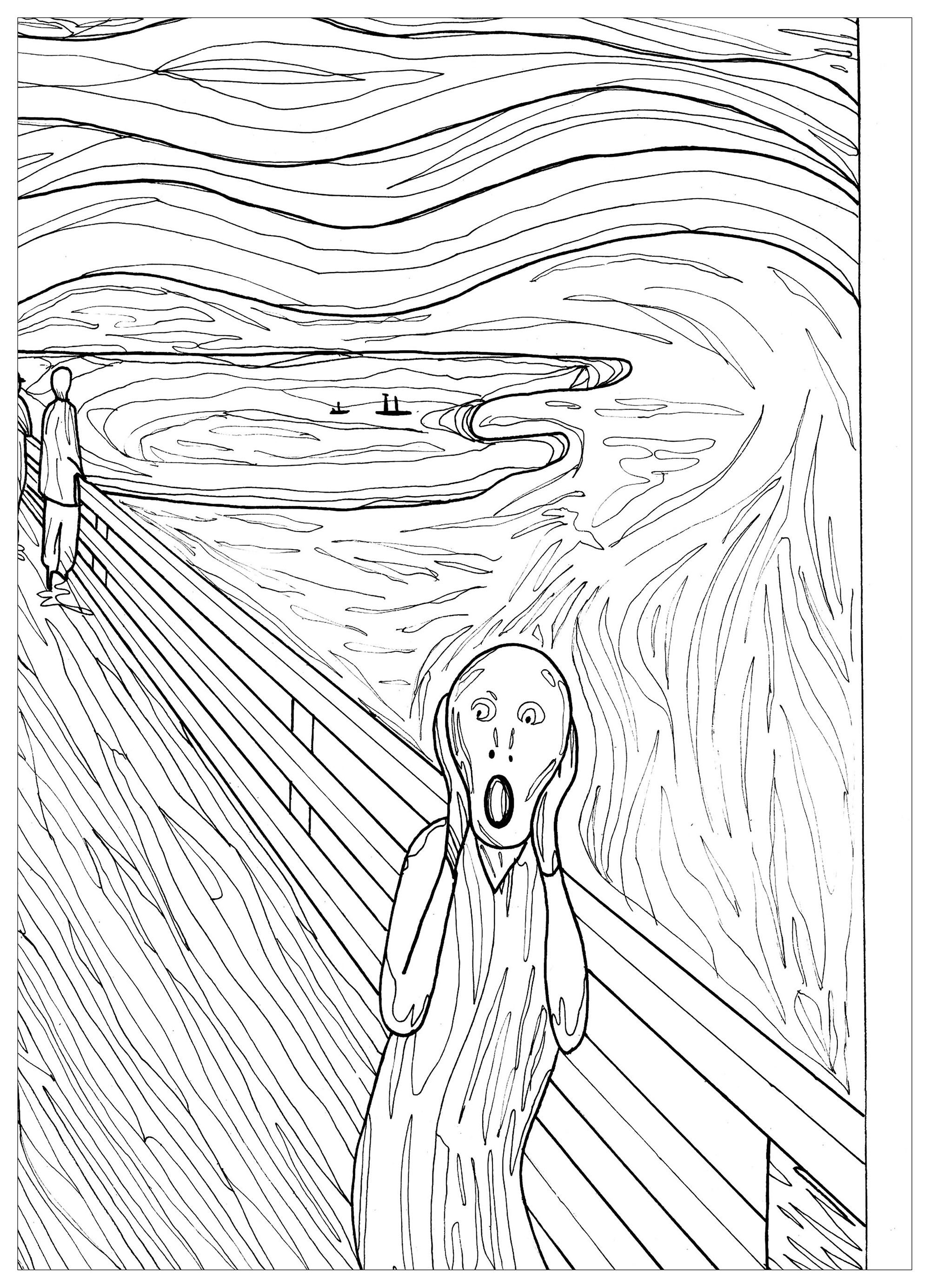 The Scream Munch Pauline Masterpieces Coloring Pages For Adults