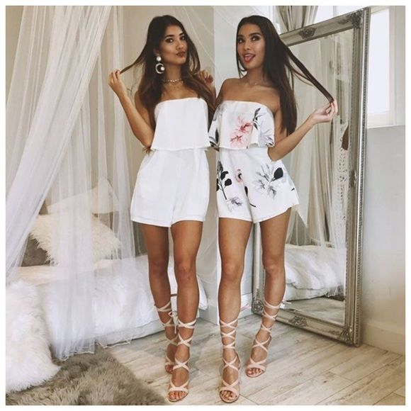 White Floral Romper Sorority Recruitment Sorority Romper Sorority Outfits White Romper Wedding Guest We Sorority Outfits Recruitment Outfits Twin Outfits