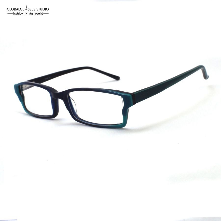 af9f24f0a83 Rectangle lens acetate glasses frame women men blue red brown on black  colorful eyeglasses prescription available
