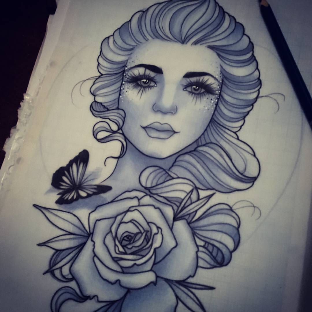 For Amy x #tattoo #design #ladyface #ladytattooers #design #art #drawing #ntgallery #tattooworkers #uktattoo #artnerd #plymouth #neotraditional #instagood