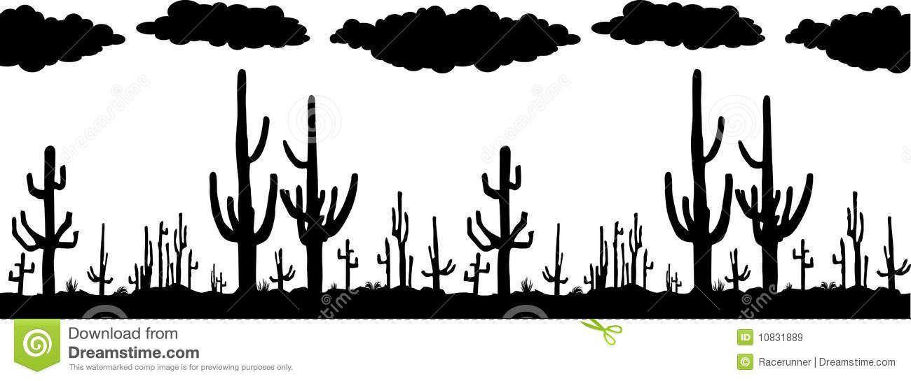 Seamless Vector With Saguaro Cactus Saguaro Saguaro Cactus Clip Art