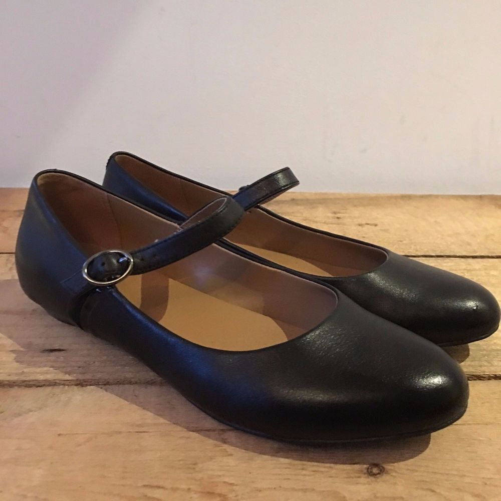 UK SIZE 4 5 WOMENS CLARKS BLACK LEATHER MARY JANE FLATS PUMPS SHOES