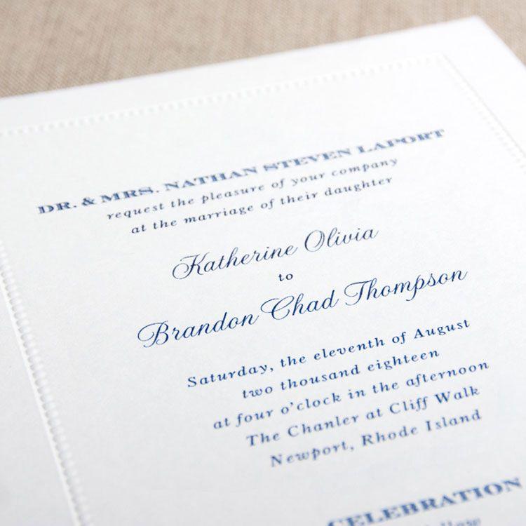 White Beaded Border Wedding Invitation White Beaded