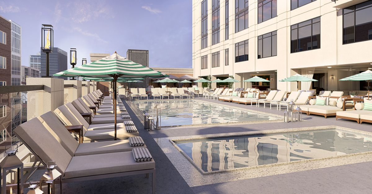 This is The Pendry in San Diego, another suspended pool ...