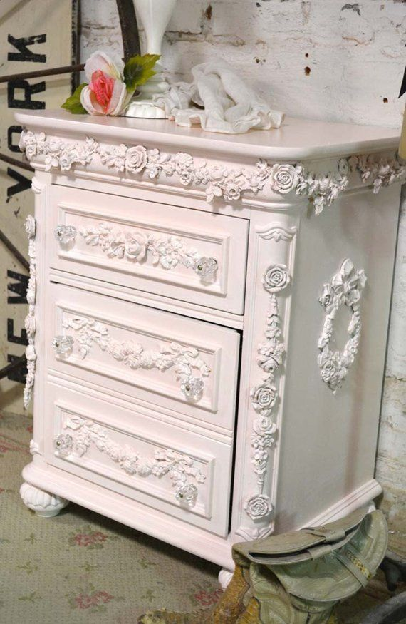 Painted Cottage Shabby Chic Romantic Pink Night Table