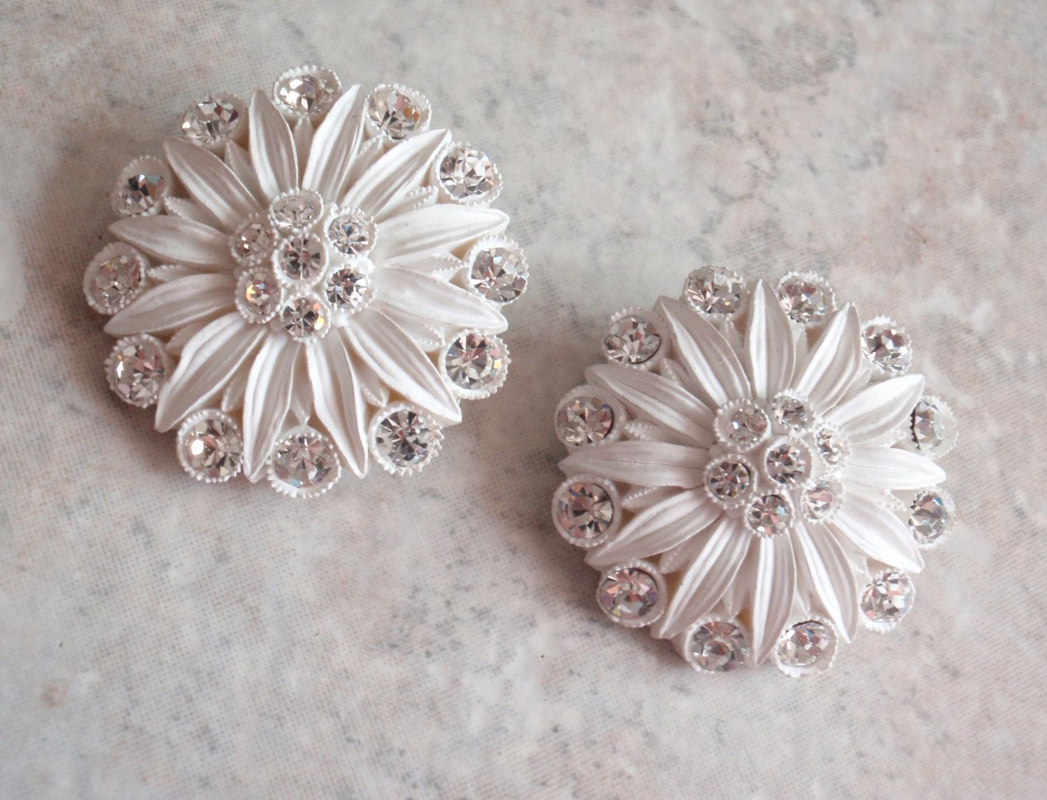 Celluloid Rhinestone Earrings White Clip On Large Round Floral Flower Vintage 030515SC by cutterstone on Etsy