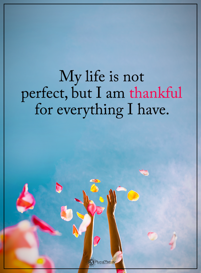My Life Is Not Perfect But I Am Thankful For Everything I Have Powerofpositivity Positivewords Positivethink Positive Quotes Quotes Inspirational Quotes