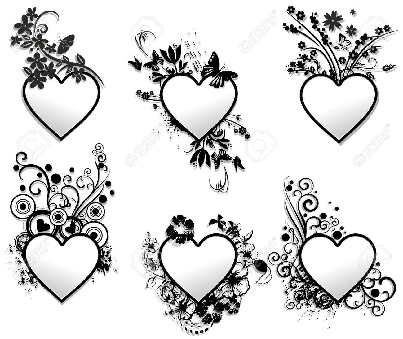 Illustration of Love Hearts Tattoo Ornamental Frames Set