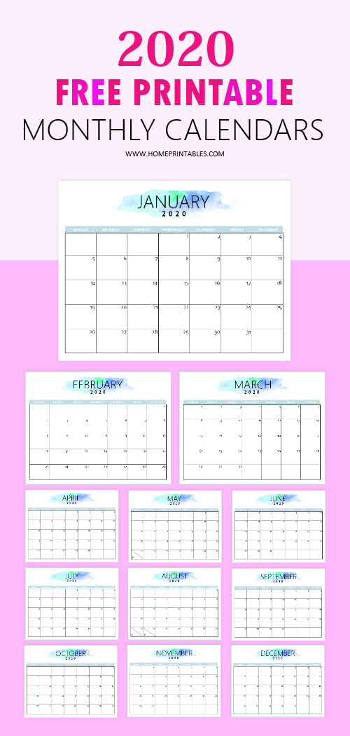 Free 2020 Calendar Printable Simple And Very Pretty Free Printable Calendar Monthly Free Printable Calendar Calender Printables