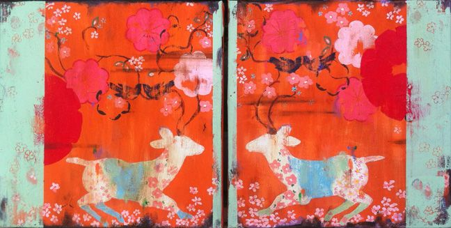"Kathe Fraga: ""I Run To You I & II"" www.kathefraga.com on frescoed canvas. Inspired by vintage Paris and chinoiserie ancienne."