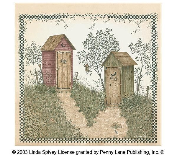 Interior Place Shower Curtain Outhouses By Linda Spivey 36 65