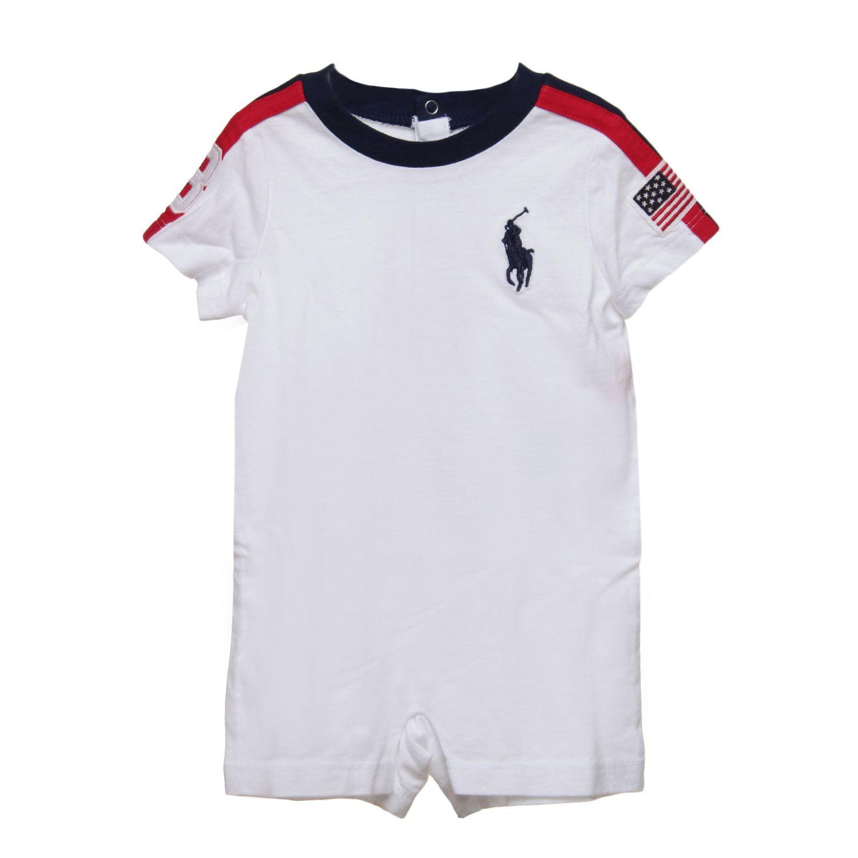 new product c8a27 a1a89 Ralph Lauren - Tutina Infant Bianca - Esclusiva tutina corta ...