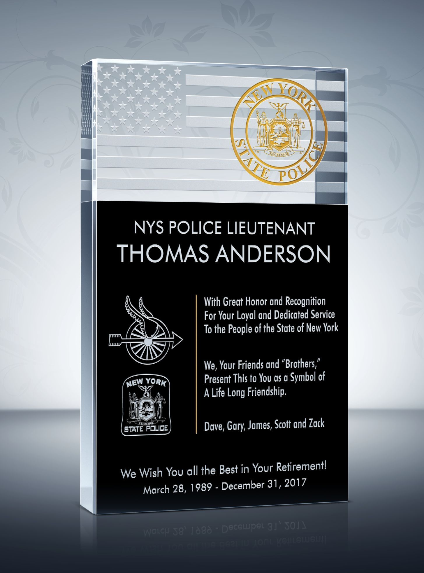 Police Retirement Plaque And Wording Samples