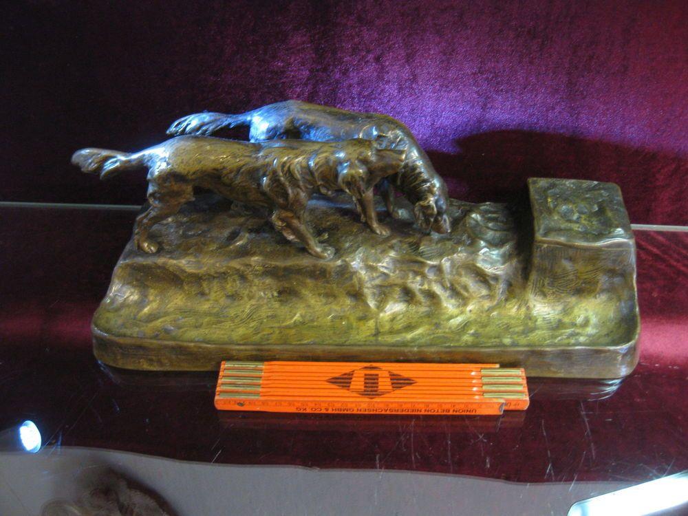Schreibtisch Garnitur Ablage Visitenkarte Hund Jagd Gornik Bronze Tintenfass