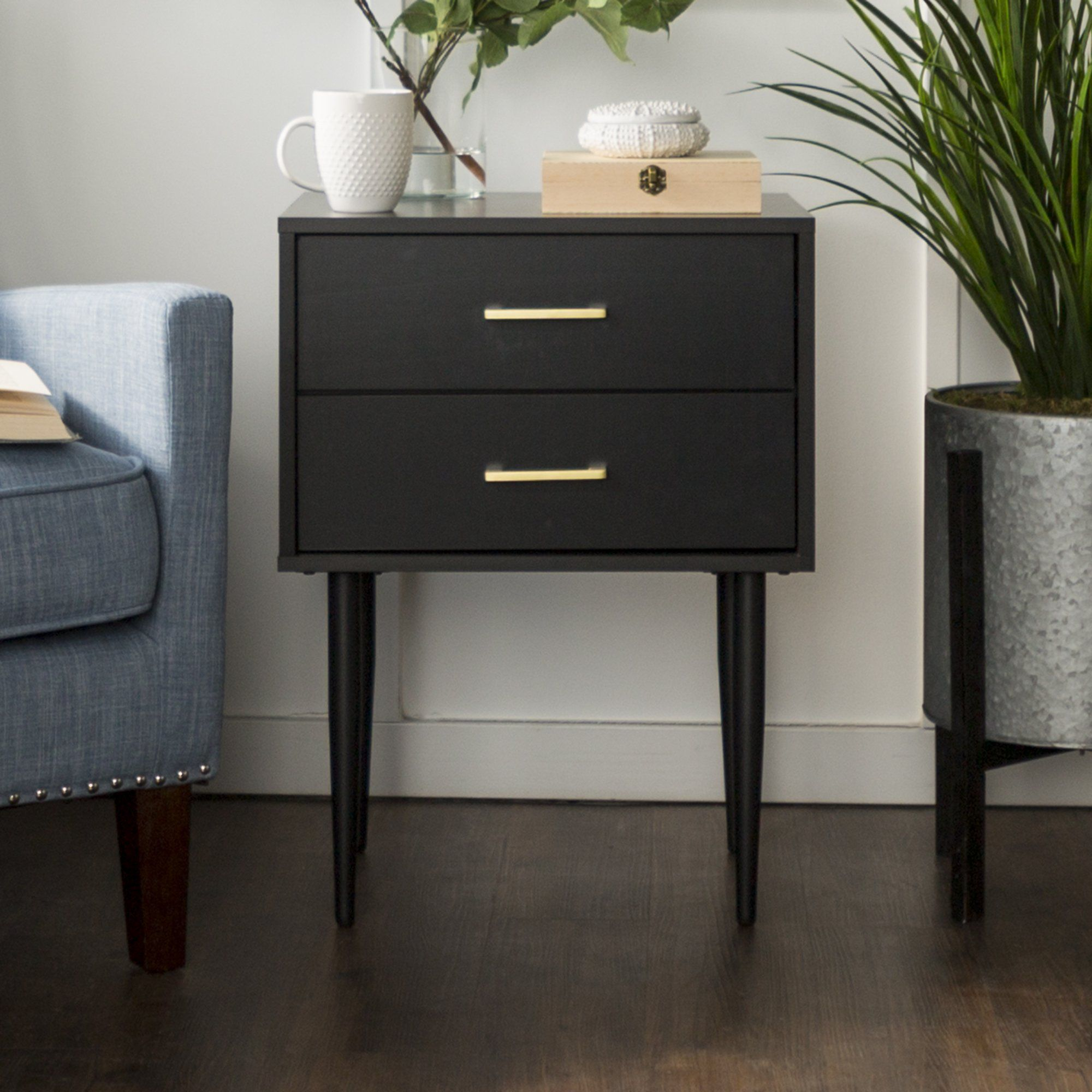 Best Olivia Nightstand In Black Side Tables Bedroom Black 400 x 300