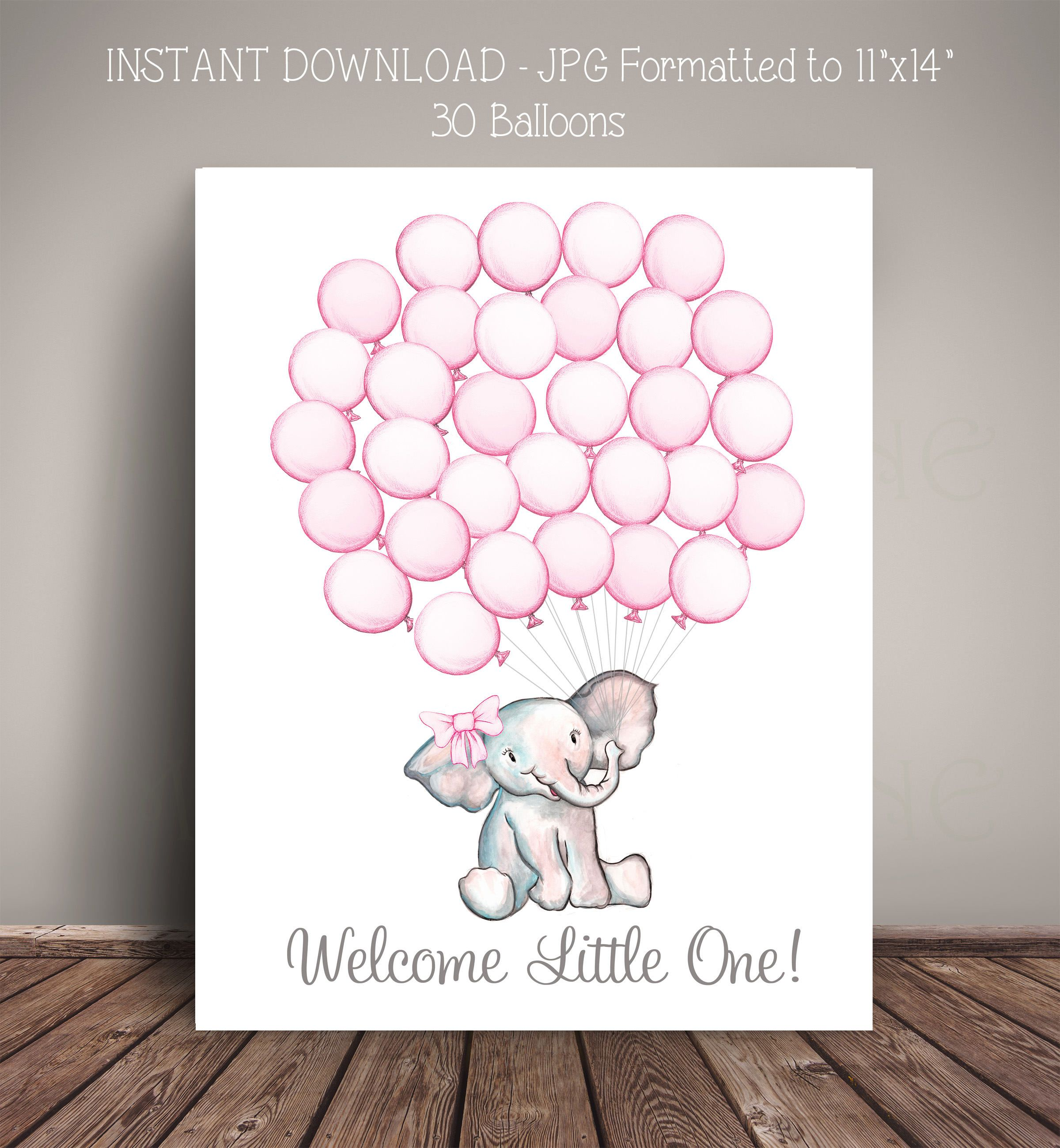 bridal shower keepsake book%0A PRINTABLE Instant Download  Watercolor Elephant Baby Shower Guest Book  Alternative     Pink Balloons