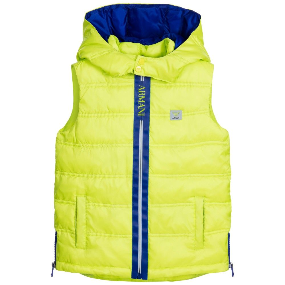 3ceff44e5e85 ARMANI JUNIOR Boys Lime Green Lightly Padded Gilet