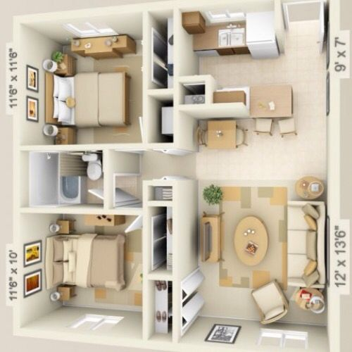 3D small house floor plans under 1000 sq ft smallhouselover