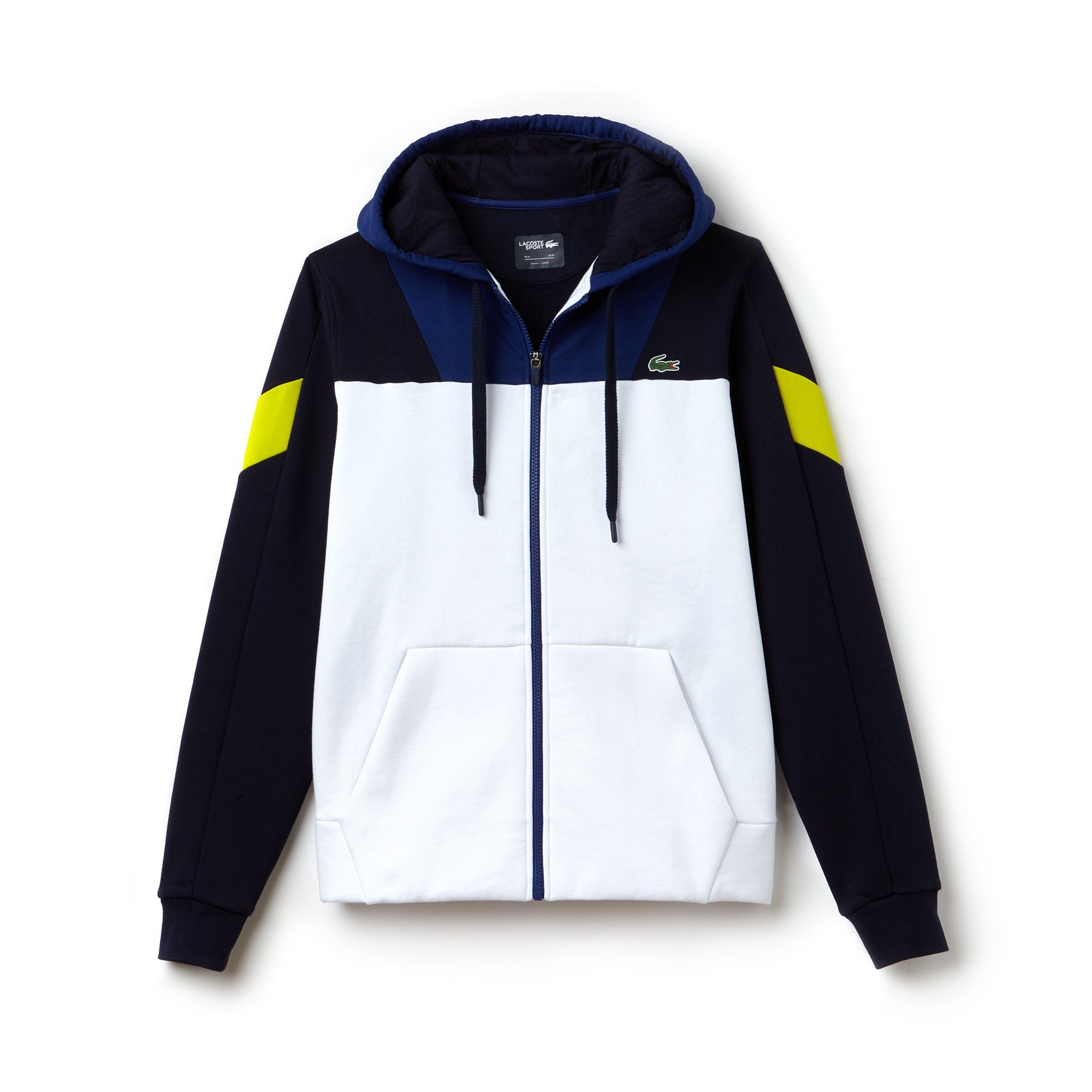 4dce0dd6e7 Lacoste Men's Sport Tennis Colorblock Bi-Material Zip Sweatshirt -  White/Navy Blue-Ocean-Sod XL