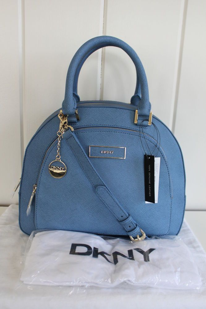 Nwt New Dkny Donna Karan Saffiano Leather Dome Satchel Bag Blue Msrp 325 I M A Er For Love This Baby