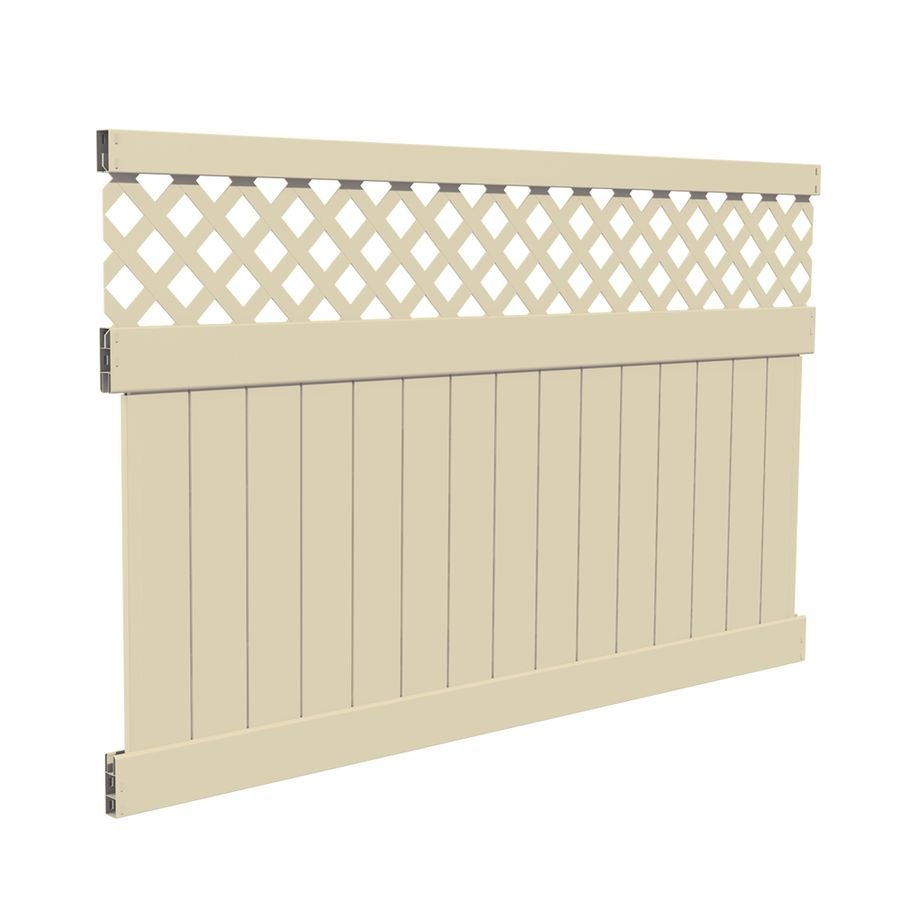 Freedom Ready To Assemble Conway 5 Ft H X 8 Ft W Sand Vinyl Lattice Top Fence Panel Lowes Com Vinyl Fence Panels Privacy Fence Panels White Vinyl Fence