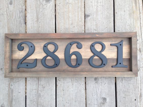 Custom Rustic House Address Numbers Plaque Set On Reclaimed Wood