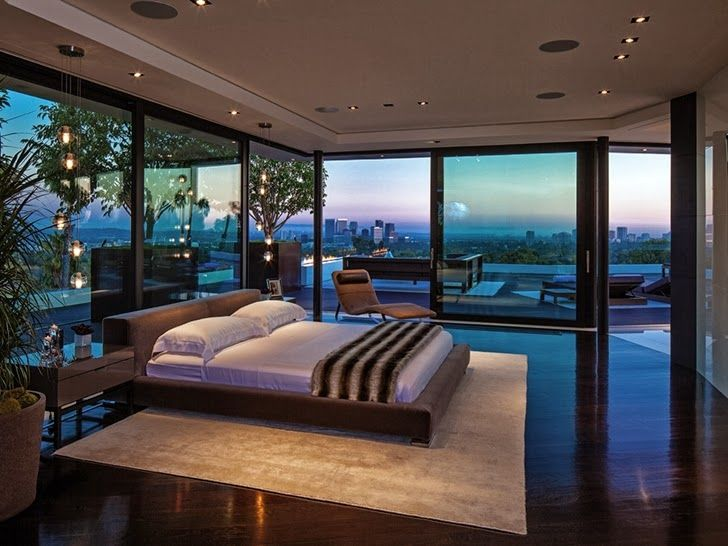 1201 Laurel Way-Cliff View Luxurious Modern Mansion in Beverly Hills  California. Love the large glass surrounding view around the bed.