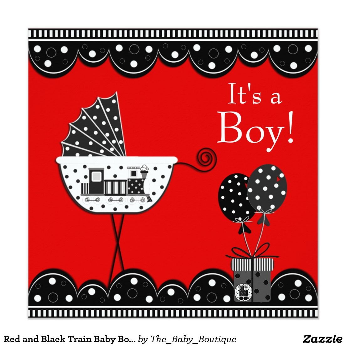 Red and Black Train Baby Boy Shower Invitation   Pinterest   Baby ...