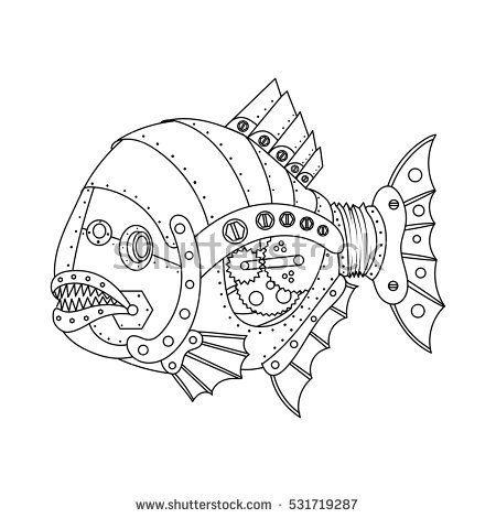 Steampunk style piranha fish. Mechanical animal. Coloring