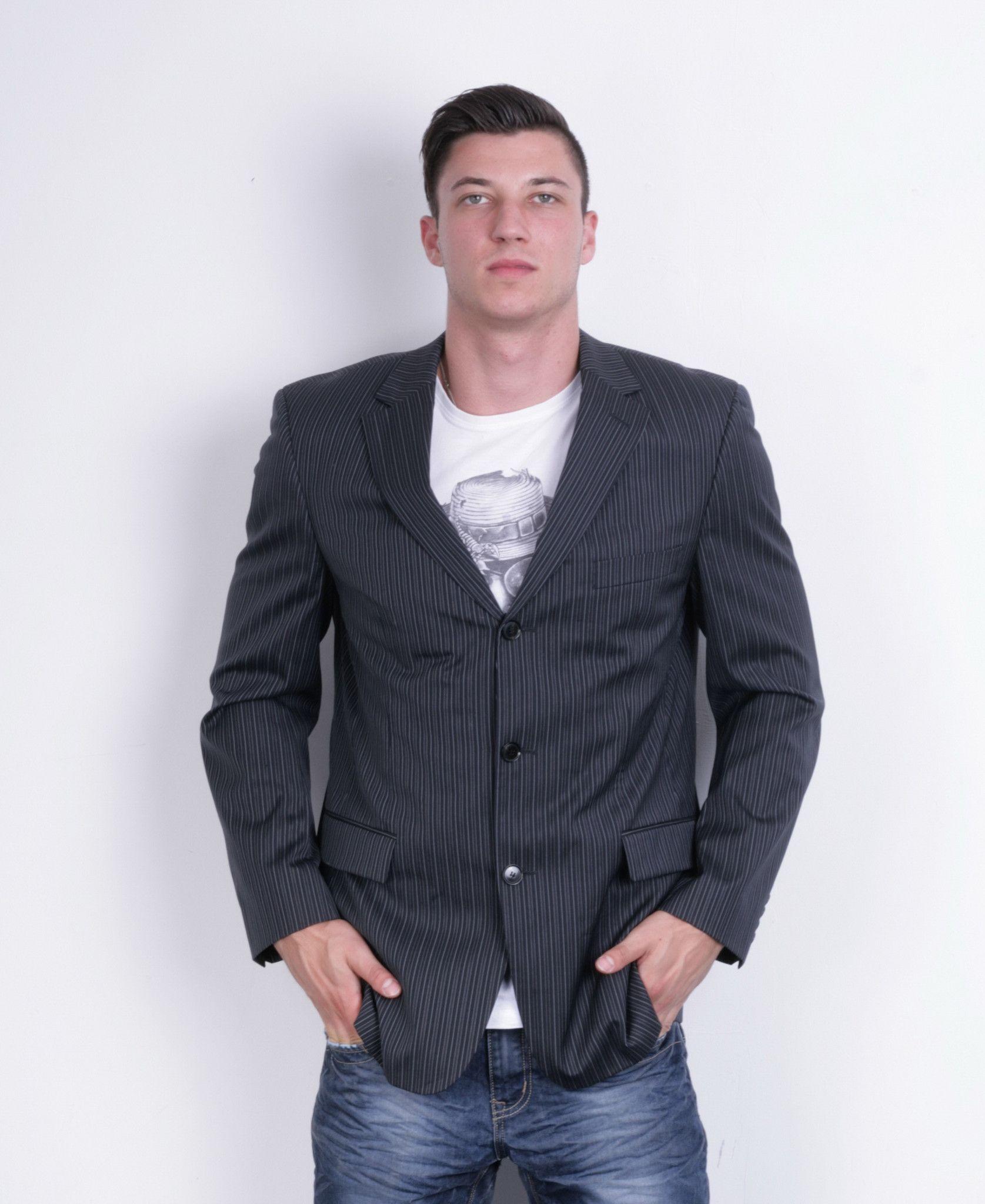 Hugo Boss Mens 50 L Blazer Wool Dark Blue Striped Virgin Wool