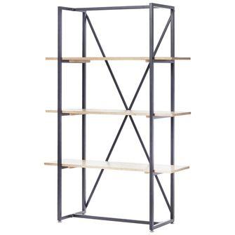 Roomdivider/wandrek Noa met 3 schappen en metalen frame. Afm. (hxbxd ...