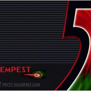 A bulk box of 10 envelopes of Wrigleys 5 Gum Tempest