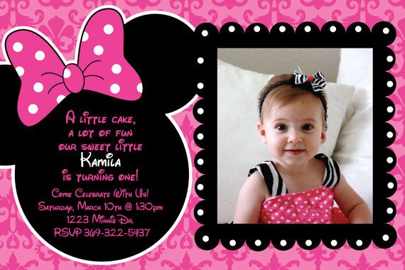 Minnie Mouse Damask Background Birthday Party Custom Invitation OR Thank You Card 1 3 Photo Option Via Etsy