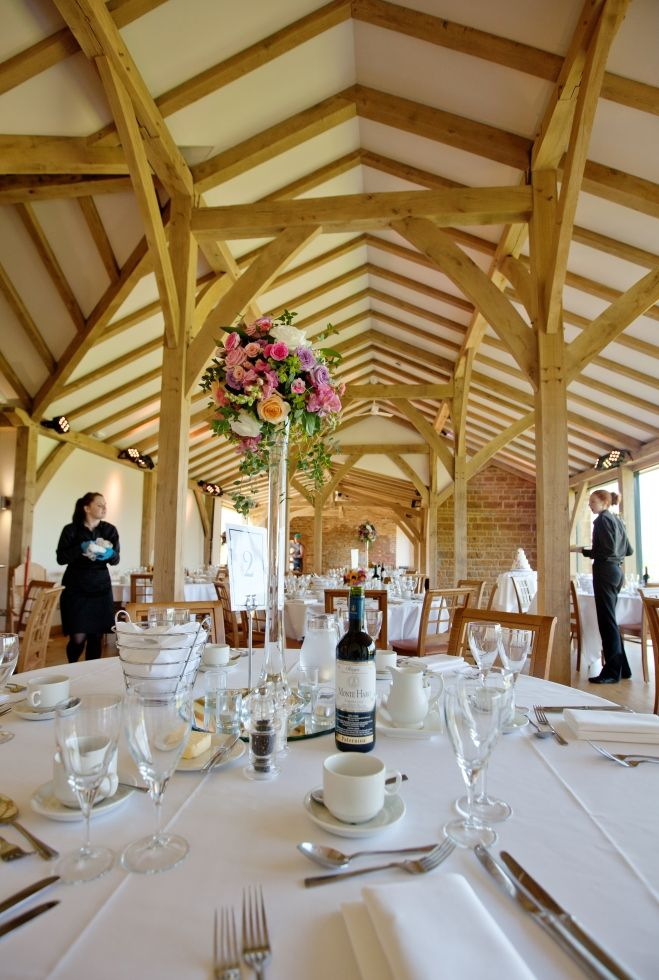 Northamptonshire Wedding Venues Dodford Manor Oak Barn Breakfast Set Up