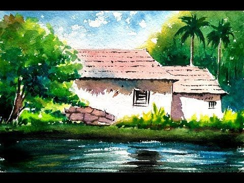 Watercolor Painting For Beginners Village House Landscape