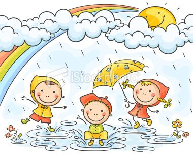 Three Little Kids Are Playing In The Rain No Gradients