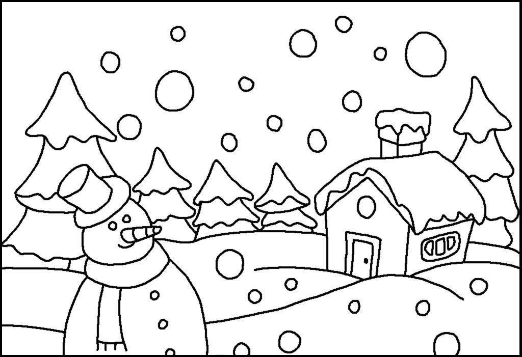 Granular Snow Falling Winter Coloring Picture For Kids Buku